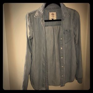 Kohl's blue button up shirt